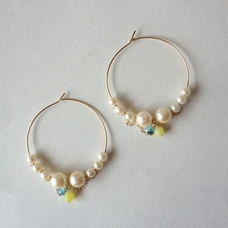 Pearl & Chain hoop earrings