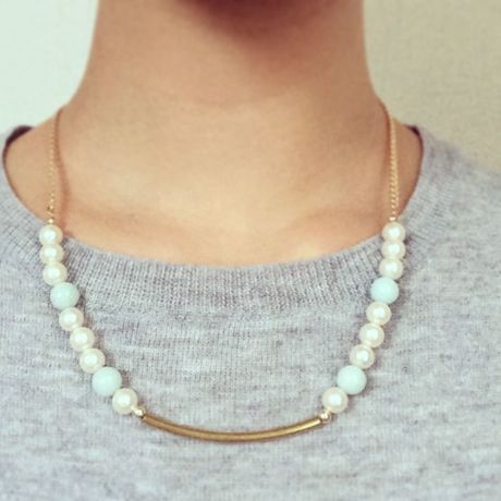 Pearl & Aquamarine necklace