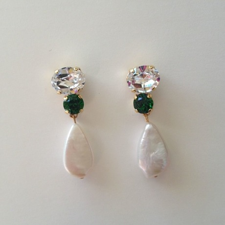 White x Green Swarovski with pearl