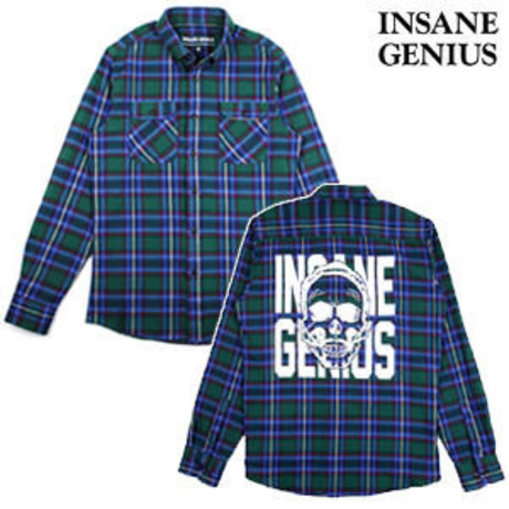 【INSANEGENIUS】Check Shirts BLUE
