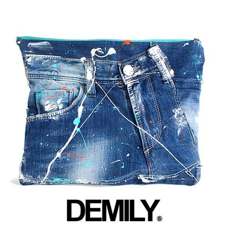 【DEMILY~DENIM&MILITARY~】ORIGINALリメイククラッチバッグ【PAINTED-No.13】
