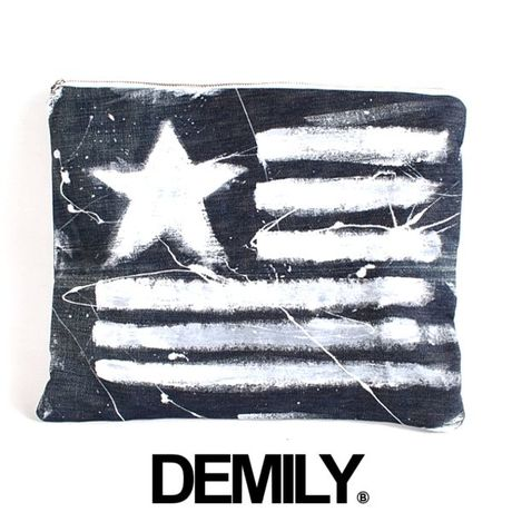 【DEMILY~DENIM&MILITARY~】ORIGINALリメイククラッチバッグ【PAINTED-No.14】
