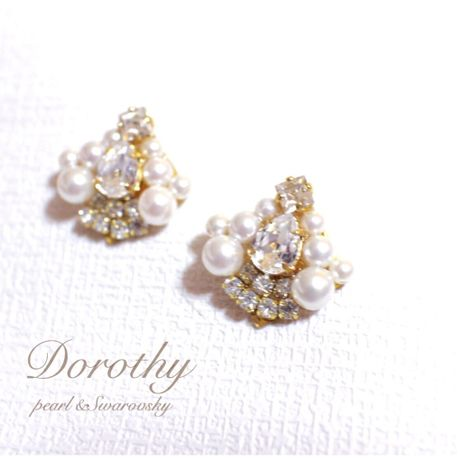 Swarovsky&pearl pierce(earring)