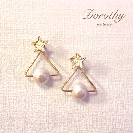gold star &triangle cotton pearl pierce