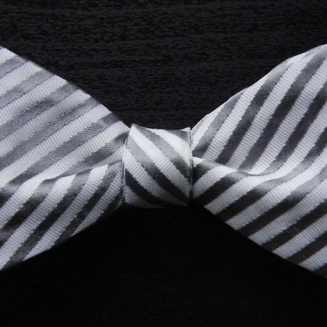 3P Silk Rep Stripe Butterfly Tie (Silver)