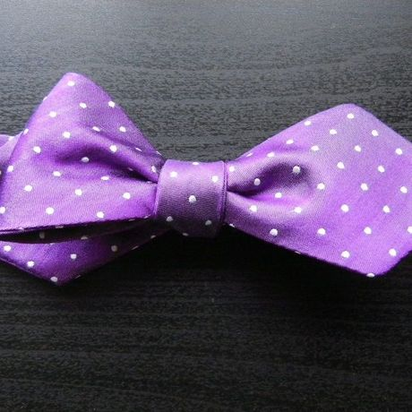 3P Silk Satin Dots Butterfly Tie (Purple)