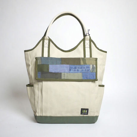Vertical Tote / Ivory×Ever Green