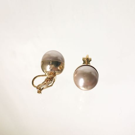 pearl back stones earrings 【Be】