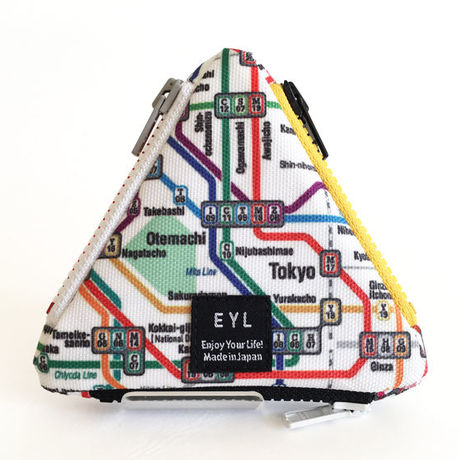 """EYL triangle coin purse """"Tokyo Subway Map"""""""