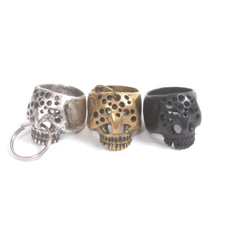 hole skull ring brass