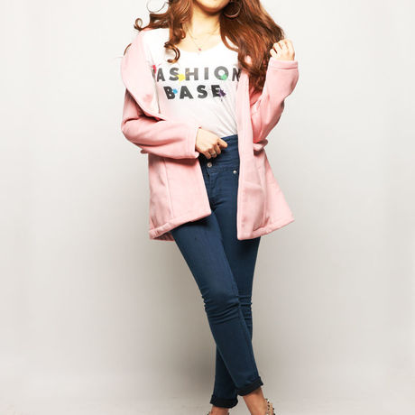 LADIES' Pink Mouton Coat