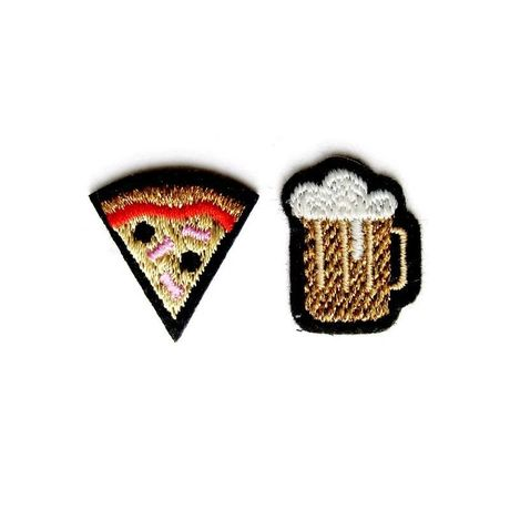 """DUO OF """"BEER & PIZZA"""" PATCHES ワッペン"""