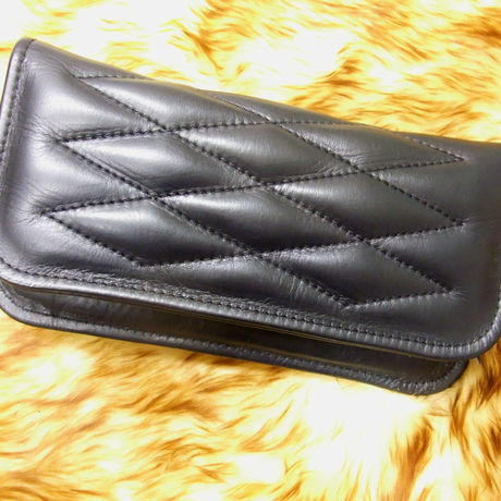 CowHide Padded Wallet Brack Stitch -2