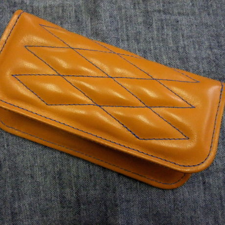CowHide Padded Wallet  Blue Stitch -3