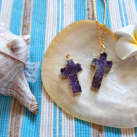 druzy cross purple