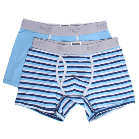 PACT(パクト)2枚組 MEN'S-BOXER BRIEF 2P-SHADOW BLUE/BLUE STRIPE MBB-SBL