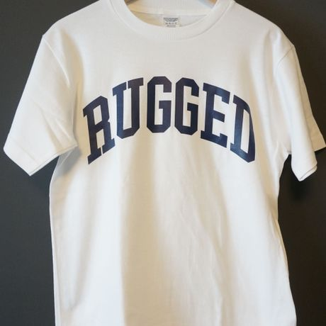 """RUGGED """"ARCH logo"""" tee(White×Navy)"""