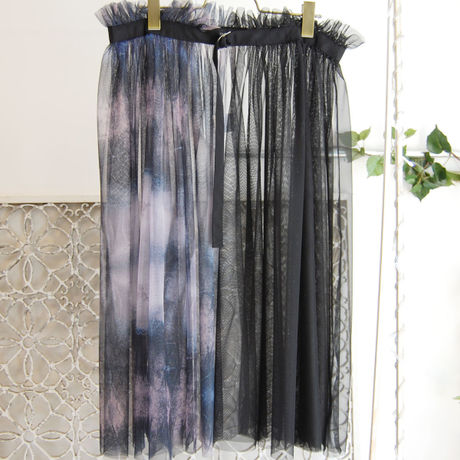 SHIROMA 16S/S chase the unknown wrap skirt -black-