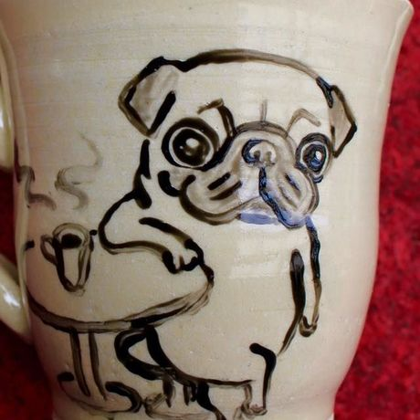 Pug hand-painted picture with cup
