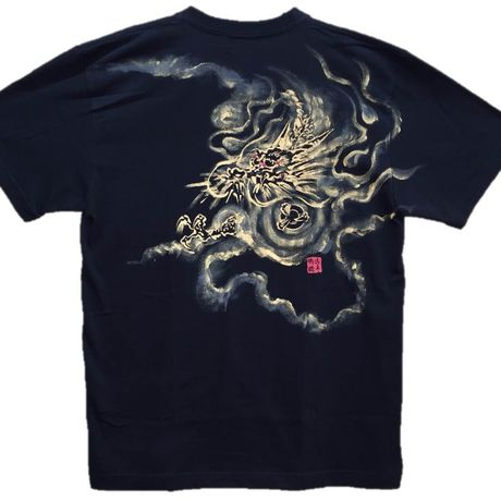T-shirts men Dragon part1 black Japanese Art