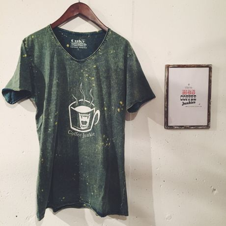 Coffee Junkie Vintage Washed T(グリーンLサイズ)