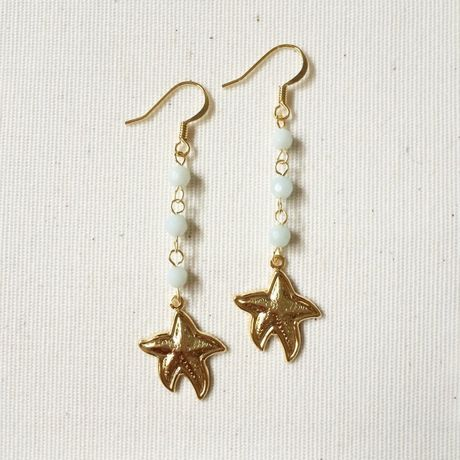 Starfish long earrings
