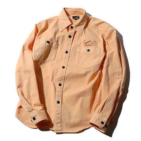 CUT RATE L/S HERRINGBONE WORK SHIRT ORANGE CR-16S012