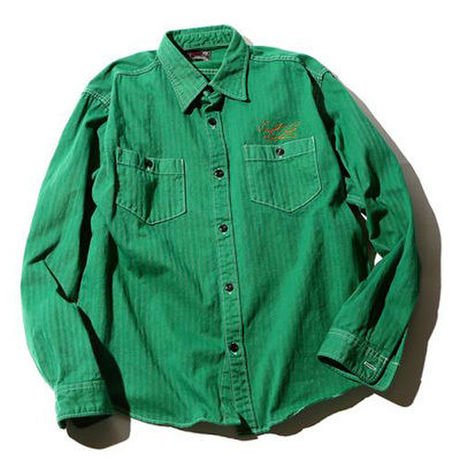 CUT RATE L/S HERRINGBONE WORK SHIRT GREEN CR-16S012