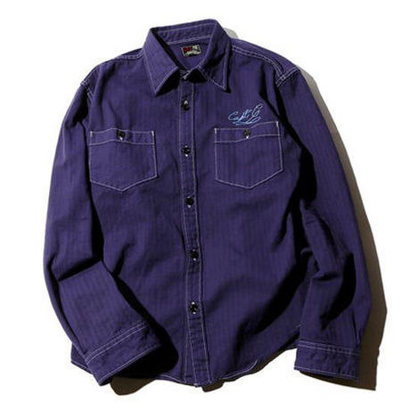 CUT RATE L/S HERRINGBONE WORK SHIRT NAVY CR-16S012