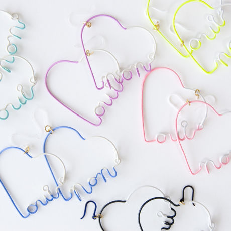 Arty Wire Pierced Earrings - oui non heart