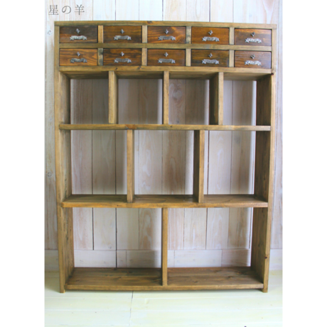 """【Order】""""Square.1"""" Handmade antique style 10 Wood Drawer and shelf Cabinet"""