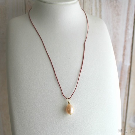 """""""A day/或日"""" Pearl and Irish Linen Cord Necklace"""
