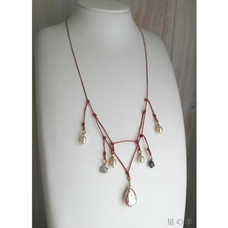 """""""Fiesta/祝祭"""" Pearl and Irish Linen Cord Necklace"""