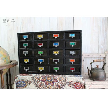 """【Order】""""Kaloseidos"""" Handmade antique style 20 Color-glass Wood Drawer Cabinet"""