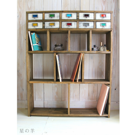 """【Order】""""Square.2"""" Handmade antique style 10 Wood Drawer and shelf Cabinet"""