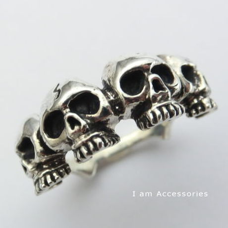 【IR0017】 Four Skull Heads Ring Silver925