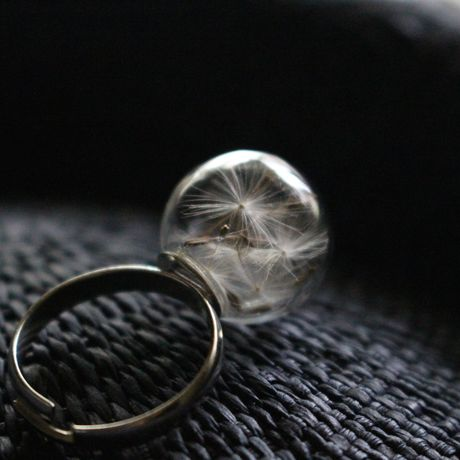 dandelion seed glass  ring