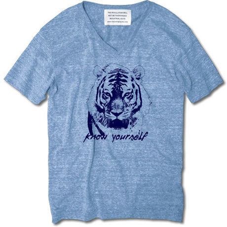 KNOW YOUR SELF V-NECK TEE【AUTHENTIC BLUE】