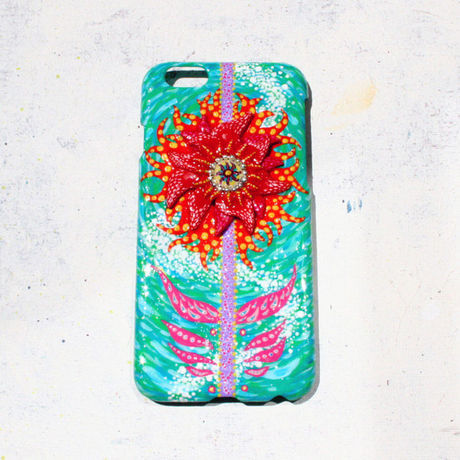 ○INTOMOMI original○iphone 6 ケース-orange flower-