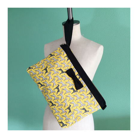 clutch bag dogs yellow