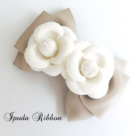 Twin Fabric White Camellia  Ribbon by  IPUDA RIBBON