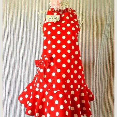 Ribon Apron Free Size Red x White Dot