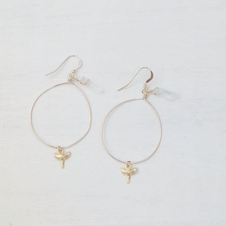 shark tooth × crystal hoop ピアス