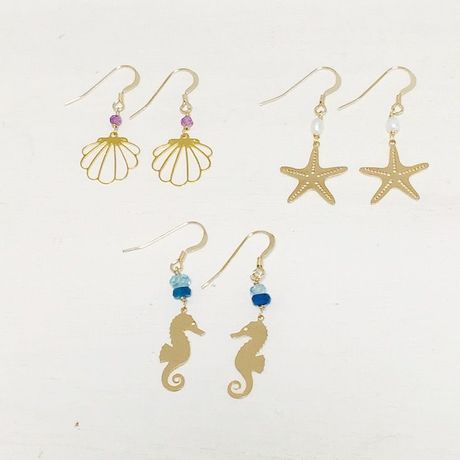 shell,starfish,seahose ピアス