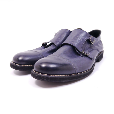 Double monk strap shoes 65131 #NAVY