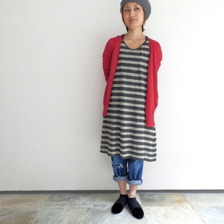 【mao made】 PREMIRE LINEN BORDER SLEEVELESS ONE-PIECE GRAY
