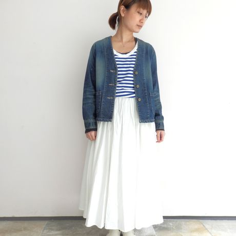 【loulu】 no-collar denim jacket