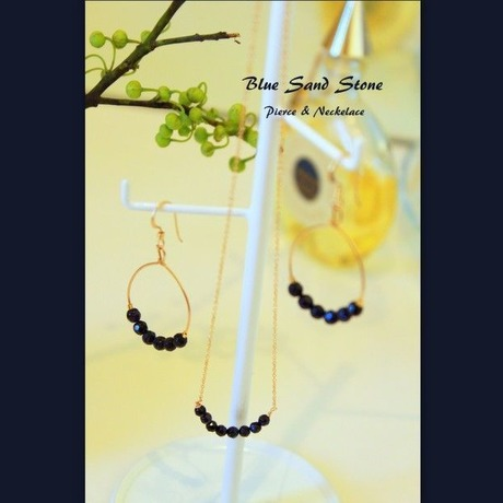 Blue Sand Stone Pierce&Necklace Set