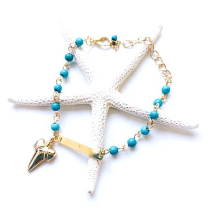 shark tooth turquoise ×  bracelet