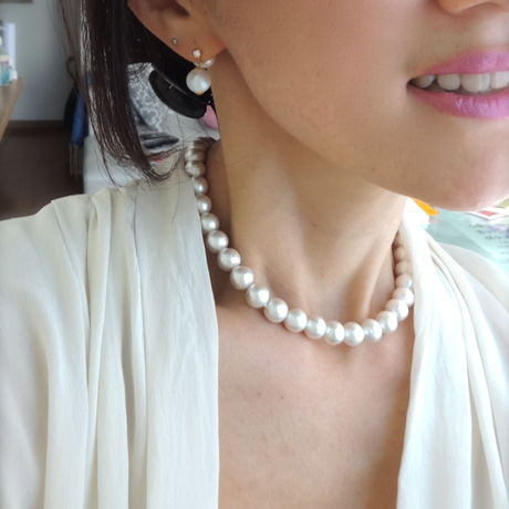 cotton pearls choker necklace(35cm) + pierce